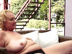 Fat blonde granny plays lesbian games with a cute brunette near a pool tube porn video