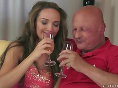 Slim girl drinks champagne and fucks old bald man tube porn video