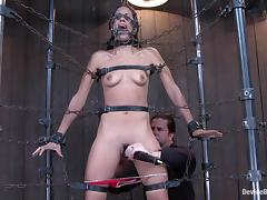 Hogtie with chains around Lyla Storm's hot body tube porn video