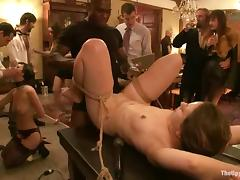 Tied up girl lies on a table getting toyed and fucked tube porn video