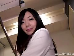 Japanese office slut shows her ass for the cam and enjoys herself tube porn video