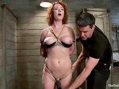 Audrey Hollander gets her holes toyed to orgasm in BDSM scene tube porn video