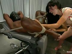 Tied Up Black Dude Getting Ball and Cock Torture and Face Sitting tube porn video