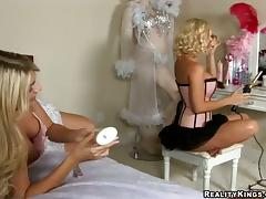 Two blondes in sexy dresses toy pussies in close-up scenes tube porn video