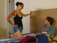 Tattooed Dana Vespoli sucks a guy off and gets a mouthful tube porn video