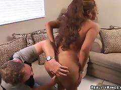 Curly Felicia gets fucked deep in her vagina on a sofa tube porn video