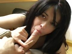 Sweet young brunette swallows sperm load by load tube porn video