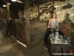 Jolene gets her pink cave made deeper by a fucking machine tube porn video