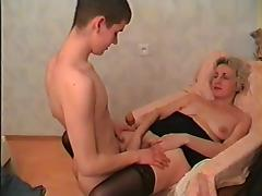 Elder mom in stockings & guy tube porn video