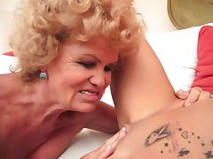 Curly-haired mature kisses sexy young blonde tube porn video