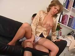 Sweet mom at stockings & gut tube porn video