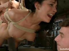 Sexy brunette gets bound and fucked hard by two lewd dudes tube porn video