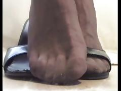 P 3-4 - FOOT FETISH: My Feet in Stockings with open Mules tube porn video
