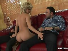 Two glasses of champagne and she is ready for two cocks tube porn video
