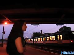 PublicAgent: Stunning blue eyed babe fucks outside under a bridge tube porn video
