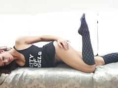 Delightful Dominika girl in stockings makes an erotic show tube porn video