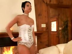 Busty Brunettes in Corset Face Sitting and Playing with a Cock tube porn video