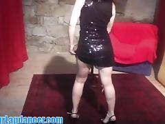 Shy Czech chick lapdances in a sexy dress tube porn video