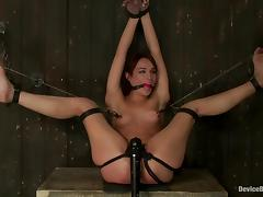 Amber Rayne gets her ass and vag unforgettably toyed in BDSM scene tube porn video