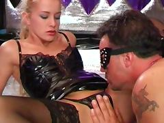 Blonde in corset Natalli di Angelo fuck with gang of dicks tube porn video