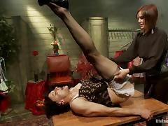 A mistress toys her sex slave in a dress and make-up tube porn video