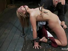 Tara Lynn Foxx gets a few orgasms while bestial punished in a cellar tube porn video