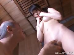 Pigtailed Japanese adolescent gets face fucked hard by grey lady's man tube porn video