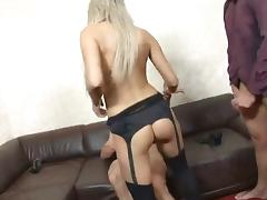 Threesome intense peaches in stockings anal DP tube porn video