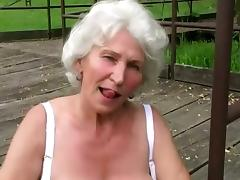 Horny Granny Rubs Her Cunt Outdoor Before Blowjob tube porn video