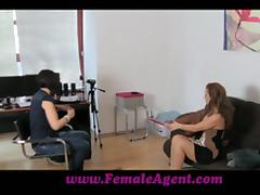 Sexy girl in stockings and high heels has lesbian sex at a casting tube porn video