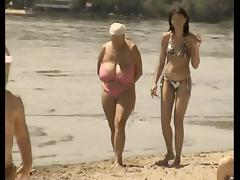 Retro big tits mix on Russian beach tube porn video