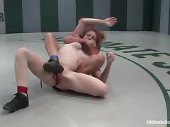 Lucy Fire gets fingered and dominated by Wenona in a ring tube porn video