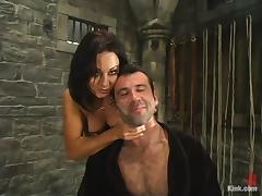 Sandra Romain puts Totaleurosex into fetters and makes him lick her vag tube porn video