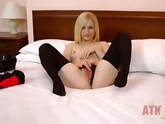 Blonde finds herself horny and takes tube porn video