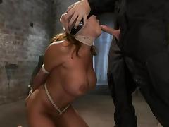 Big breasted Ava Devine gets tied up and face fucked tube porn video