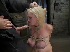 Katie Kox sucks a dick gets her huge tits tortured tube porn video