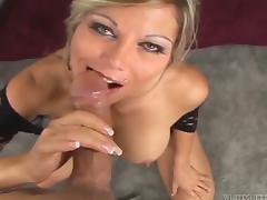 Busty blonde mom Ana Nova titfucks a cock before taking a ride on it tube porn video