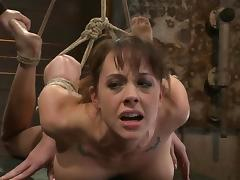 Hog tied Chanel Preston gets toyed and face fucked tube porn video