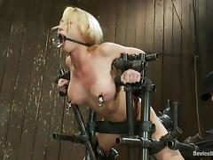 Madison Scott cums a few times while being tormented in BDSM scene tube porn video