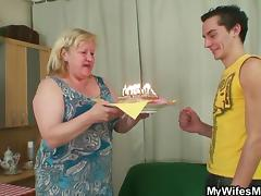 birthday cake and a surprise from my wifes mom tube porn video
