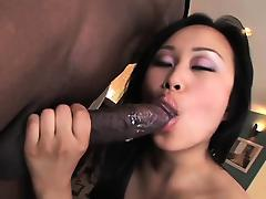 Tight Asian pussy filled with black cock tube porn video