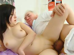 Old man fuck with a young cute brunette Alena tube porn video