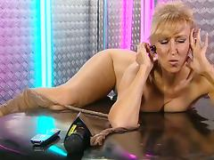 Foxy spending another night on the phones in the RLC Office tube porn video