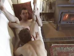 Gays are licking asses of each other on the chair tube porn video