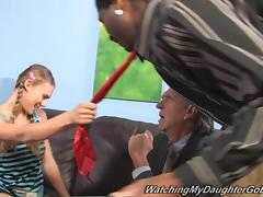 Adorable Sunset Diamond Gets Fucked By A Big Black Cock In Front Of Her Dad tube porn video