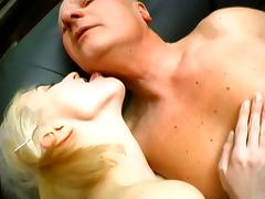Skinny girls get fucked by an old fart in threesome sex video tube porn video