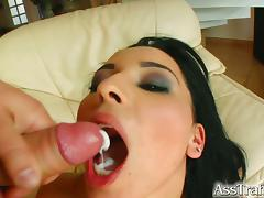 Belle gets fed with cum after double penetration sex action tube porn video