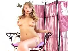 Glamour babe lingerie tease in sheer stocking tube porn video