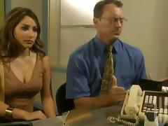 Stunning business lady gets banged on her office table tube porn video