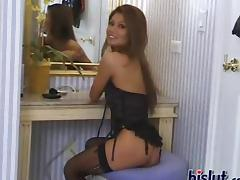 Charmane fucks herself while wearing stockings tube porn video